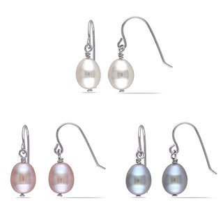Miadora Sterling Silver Cultured Freshwater White, Pink and Grey Pearl Dangle Earrings Set