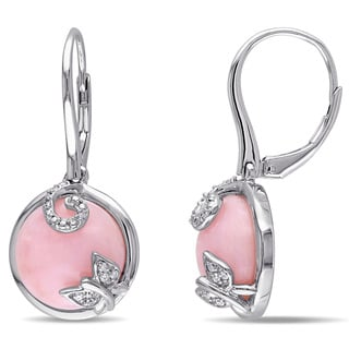 Miadora Sterling Silver Pink Opal and 1/10ct TDW Diamond Butterfly Dangle Earrings (G-H, I2-I3)
