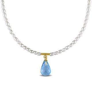 Miadora Yellow Plated Sterling Silver Cultured Freshwater Pearl and Blue Topaz Teardrop Necklace (1.5-2.5 mm)