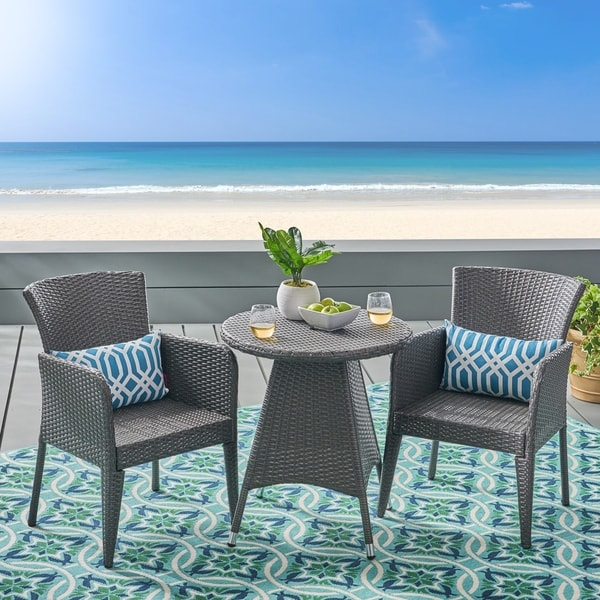 Shop Brayden Outdoor 3 Piece Wicker Bistro Set By Christopher Knight