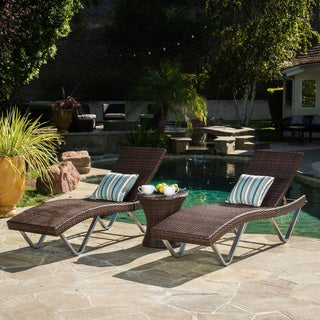 San Marco Outdoor 3 Piece Wicker Chaise Lounge Set By Christopher Knight  Home