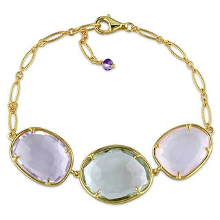 Miadora Yellow Plated Sterling Silver Amethyst and Quartz Charm Link Bracelet