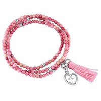 Miadora Sterling Silver Rhodonite and Pink Tassel Endless Heart Charm Bracelet
