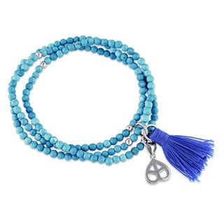 Miadora Sterling Silver Dyed Howlite and Blue Tassel Endless Heart Charm Bracelet
