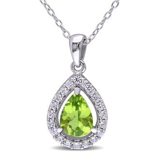 Miadora Sterling Silver Peridot and Created White Sapphire Teardrop Halo Necklace