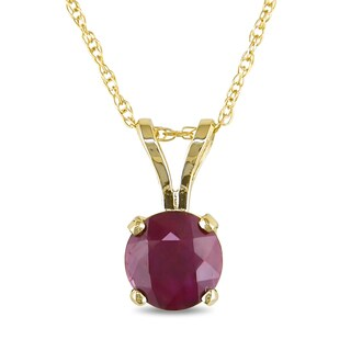 Miadora 14k Yellow Gold Ruby Solitaire Necklace