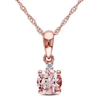 Miadora 10k Rose Gold Morganite and Diamond Accent Drop Necklace