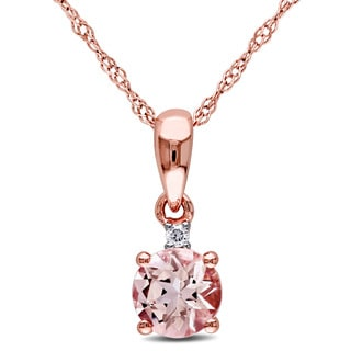 Miadora 10k Rose Gold Morganite and Diamond Accent Drop Necklace