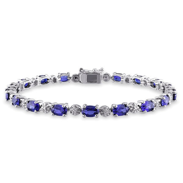 Miadora Sterling Silver Created Blue Sapphire and Diamond Accent Birthstone Tennis Bracelet. Opens flyout.