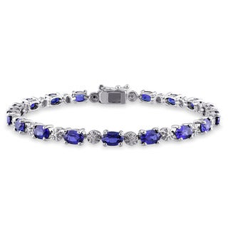 Miadora Sterling Silver Created Blue Sapphire and Diamond Accent Birthstone Tennis Bracelet