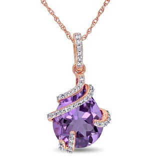 Miadora 10k Rose Gold Amethyst and 1/8ct TDW Diamond Bypass Teardrop Necklace (G-H, I2-I3)