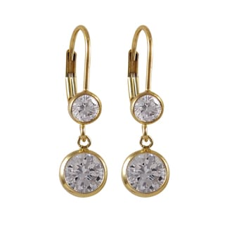 Luxiro Gold Filled Cubic Zirconia Circle Dangle Earrings