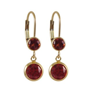 Luxiro Gold Filled Cubic Zirconia Circle Dangle Earrings