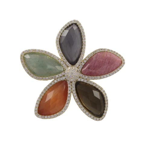 Luxiro Gold Finish Sterling Silver Gemstone and Cubic Zirconia Flower Brooch Pin - White