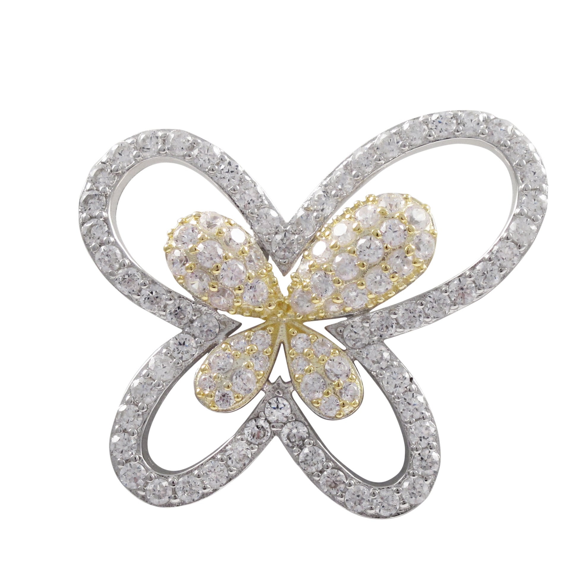 Luxiro Two-tone Sterling Silver Cubic Zirconia Butterfly ...