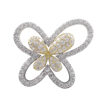Luxiro Two-tone Sterling Silver Cubic Zirconia Butterfly Brooch Pin