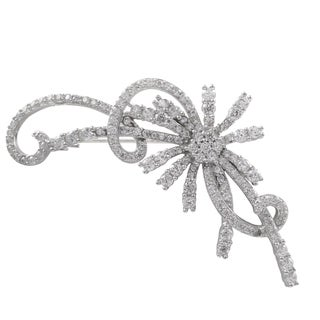 Luxiro Sterling Silver Cubic Zirconia Floral Brooch Pin