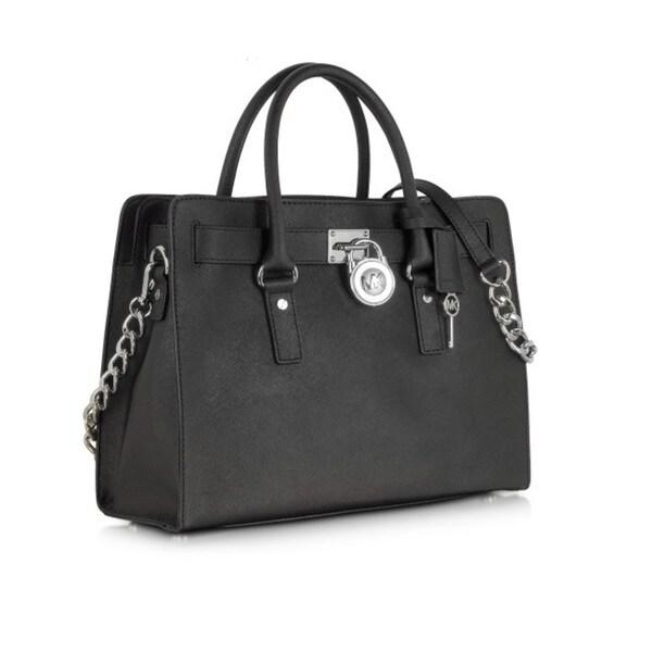 ff68fc980 Shop Michael Kors Hamilton Black w/Silver Chain Satchel Handbag ...