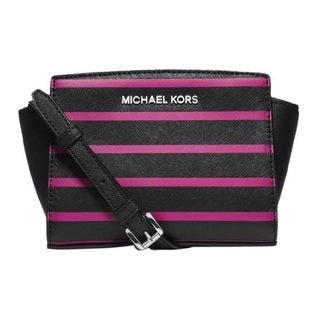Michael Kors Selma Stripe Saffiano Leather Crossbody Handbag