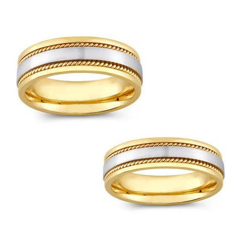 14k Two-tone Gold Men and Women Rope Detail Comfort Fit Wedding Band