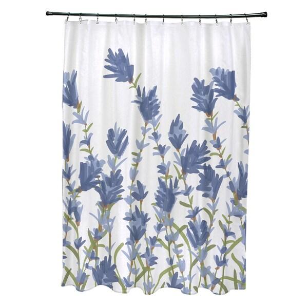71 x 74 Lavender Floral Print Shower Curtain