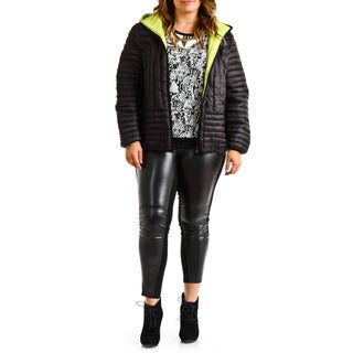 Halifax Traders Women's Plus Size Black Hooded Down Puffer Packable Coat