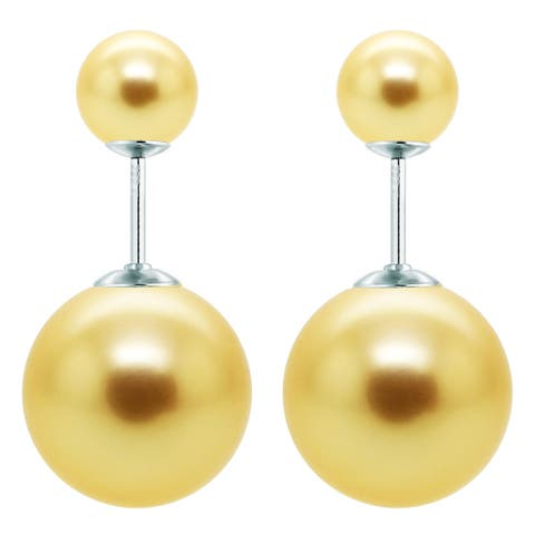 DaVonna Sterling Silver Round Shell Pearl Stud Earrings (8mm 16mm)