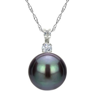 DaVonna Sterling Silver Pearl and Cubic Zirconia Pendant Necklace (7-8mm) (Option: Black)