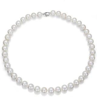 DaVonna Sterling Silver White Cultured Freshwater Pearl Necklace (4-5mm)