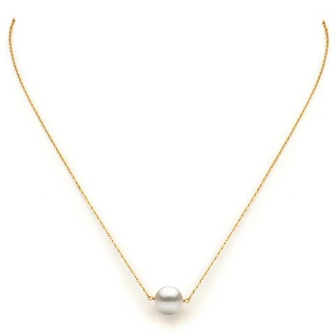 """DaVonna 14k Yellow Gold White Freshwater Pearl Pendant Necklace, 18"""""""