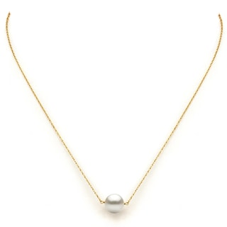 """Link to DaVonna 14k Yellow Gold White Freshwater Pearl  Pendant Necklace, 18"""" Similar Items in Earrings"""