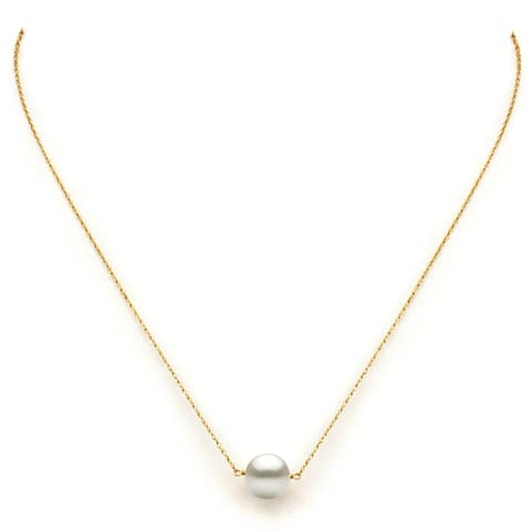 DaVonna 14k Yellow Gold White Freshwater Pearl Pendant Necklace, 18""