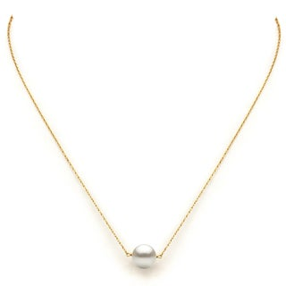 DaVonna 14k Yellow Gold White Freshwater Pearl 18-inch Necklace (10 - 11mm)