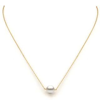 DaVonna 14k Yellow Gold 10-11mm White Freshwater Pearl Necklace 18
