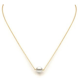 "DaVonna 14k Yellow Gold White Freshwater Pearl Pendant Necklace, 18"" (4 options available)"