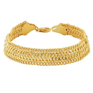 Argento Italia 18k Gold Over Sterling Silver 13-mm Saduza Bracelet (7.5 inches)