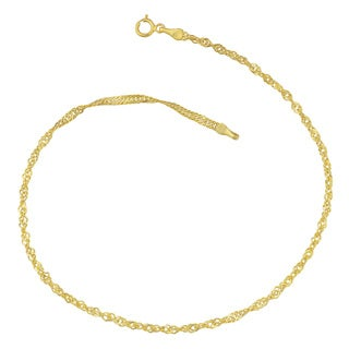 Fremada 10k Yellow Gold 2.2-mm Singapore Chain Anklet (10 inches)