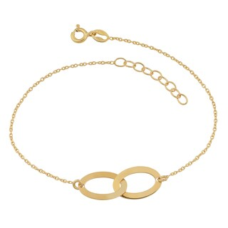 Fremada 18k Yellow Gold Over Sterling Silver Interlocking Ovals Adjustable Length Bracelet