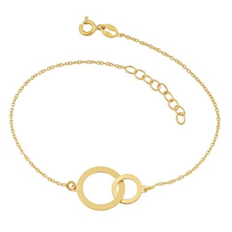 Fremada 18k Yellow Gold Over Sterling Silver Interlocking Circles Adjustable Length Bracelet
