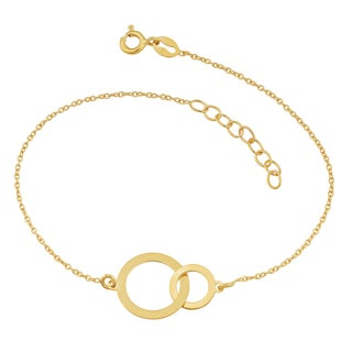 Fremada 18k Yellow Gold Over Sterling Silver Interlocking Circles Adjustable Length Bracelet