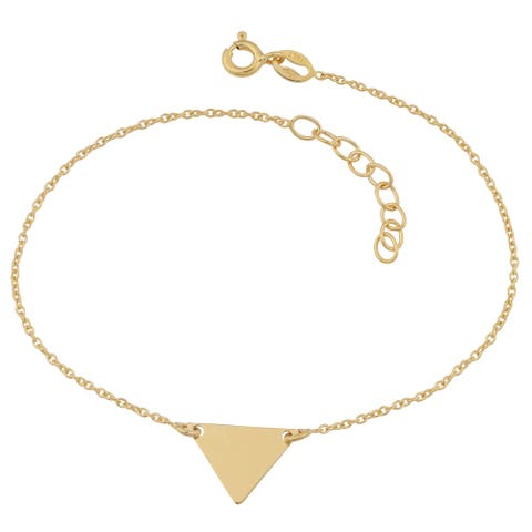 Fremada 18k Yellow Gold Over Sterling Silver Triangle Adjustable Length Bracelet