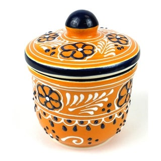 Handmade Sugar Bowl in Mango - Encantada Pottery (Mexico)
