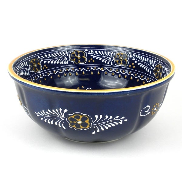 Handmade Large Round Bowl in Blue - Encantada Pottery (Mexico)