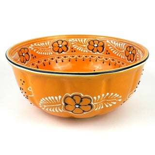 Hand-painted Large Round Bowl in Mango - Encantada Pottery (Mexico)