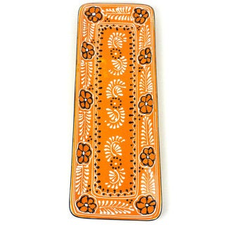 Encantada Pottery Hand-painted Long Platter in Mango - (Mexico)