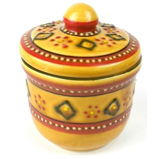 Hand-painted Encantada Pottery Red Sugar Bowl (Mexico)