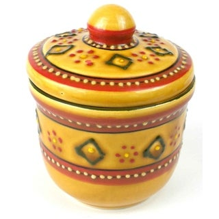 Handmade Encantada Pottery Red Sugar Bowl (Mexico)