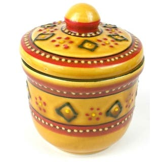 Handmade Encantada Pottery Red Sugar Bowl (Mexico)|https://ak1.ostkcdn.com/images/products/10701677/P17762351.jpg?impolicy=medium