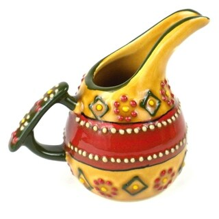 Hand-painted Encantada Pottery Mini Creamer in Red (Mexico)