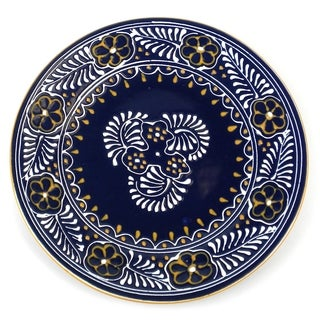 Encantada Pottery Hand-painted Round Blue Plate (Mexico)